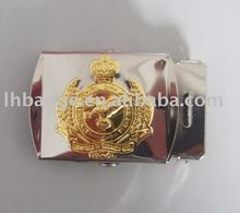 Silver belt buckle with logo embossed and gold colour