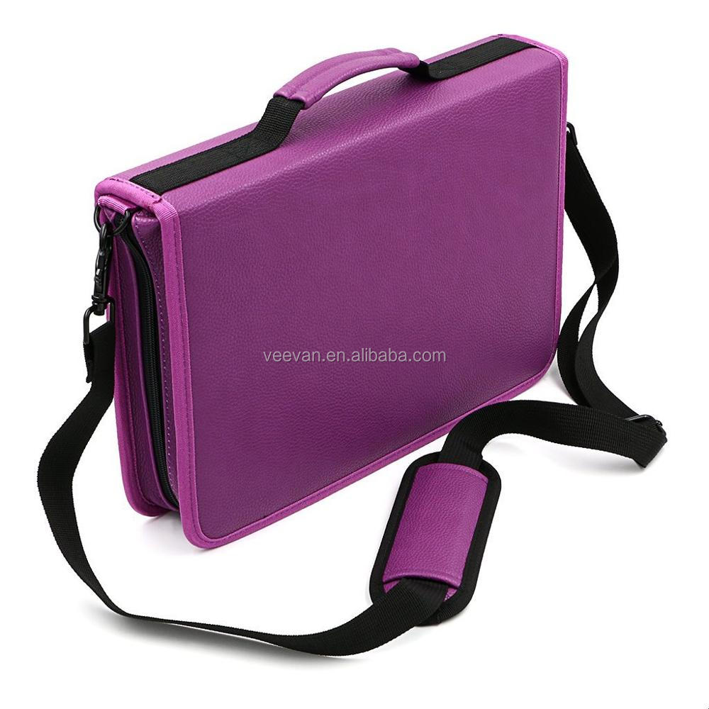 Wholesale 160 slots polyester practical zipper pencil case with carrying shoulder strap