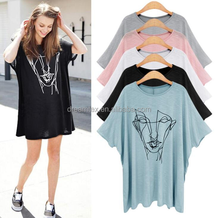 2017 Wholesale Summer Dress Female Blouse With Loose Size Printed Short-sleeved Women's Bat T-shirt