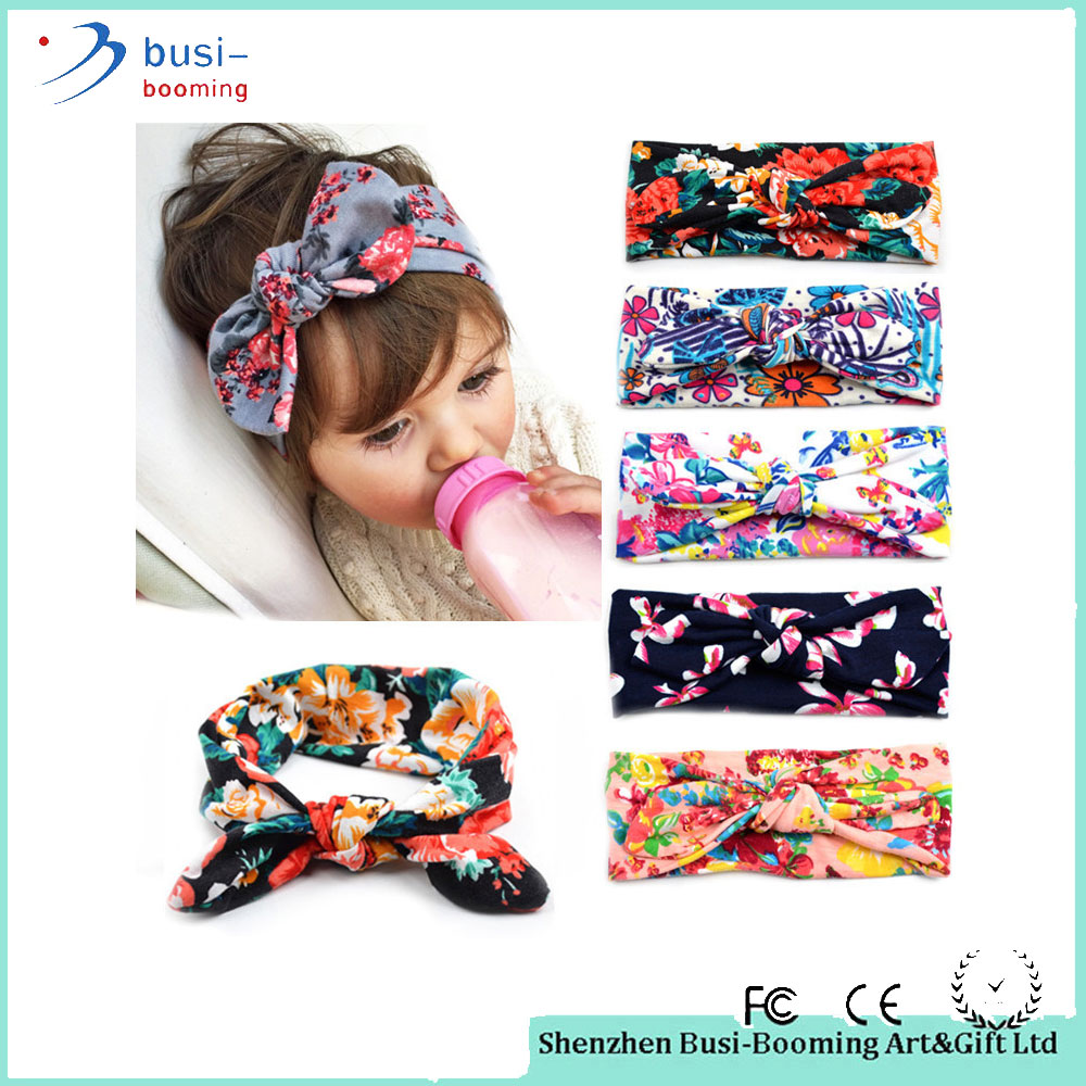 Hair Band Accessories Flowers Print Floral Bow Baby Turban Knot Headband