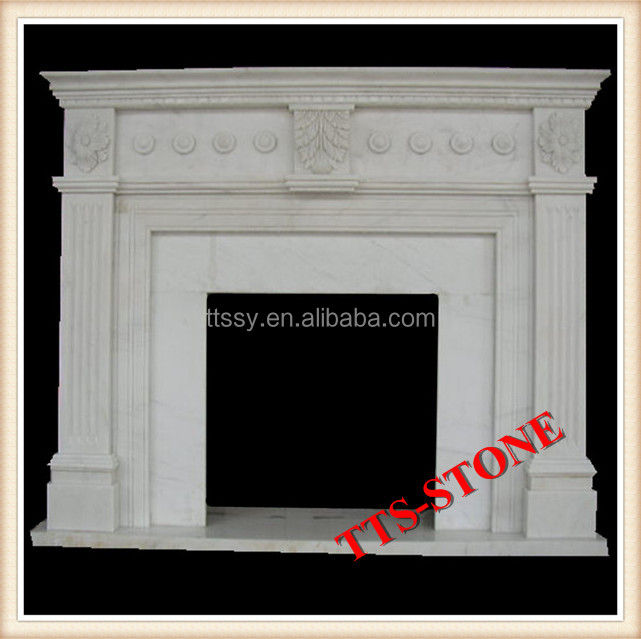 Indoor Modern Carved Surround White Marble Stone Fireplace