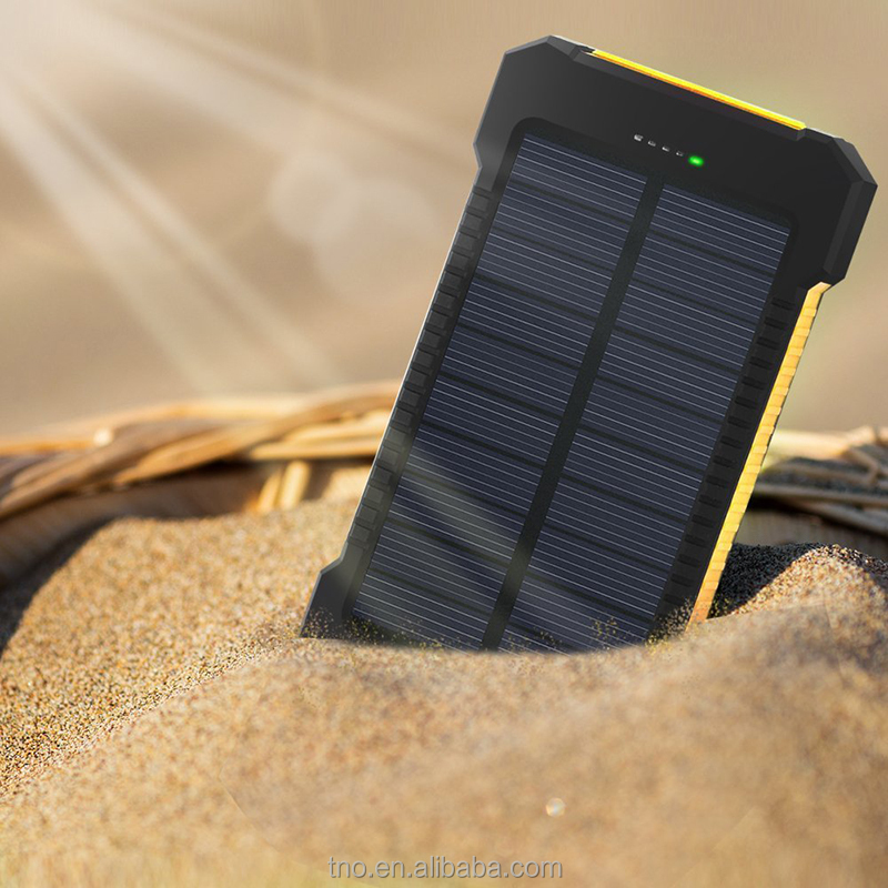 Portable waterproof solar power bank 10000mAh mobile phone charger