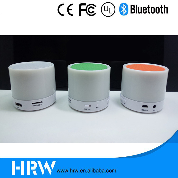 2016 ShenZhen factory Customize logo picture print mini metal bluetooth speaker with colorful led light,TF card and FM radio