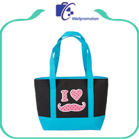 Promotional shopping bag mk lady hand bag with embroidery logo