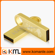 Bulk golden metal usb flash drives custom logo key ring usb 3.0 flash drive
