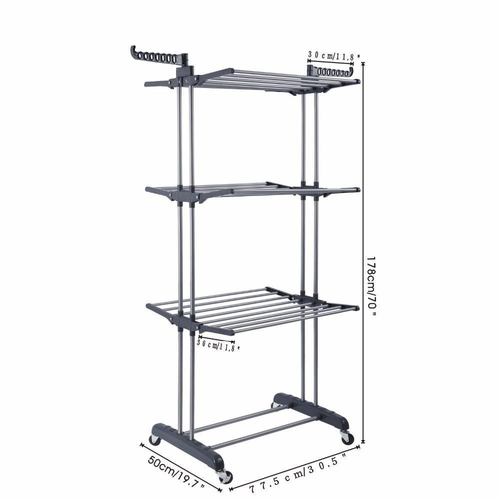 Foldable 3 Layers Clotheslines Drying Rack Laundary Clothes Hanger
