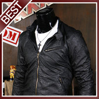 Mens Premium Design F-ZIPPER Point Leather Jacket_ BLACK, (US SIZE- S)