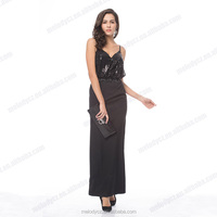 Black spaghetti sleeveless long sexy backless high slits evening dress