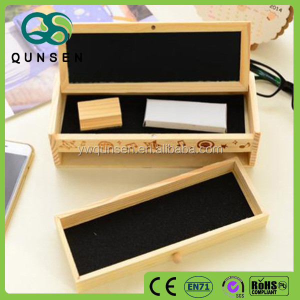 custom Korea wooden 2 layers drawing pencil case