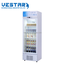 238L upright glass door showcase with double slidling door commercial refrigerator