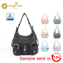 Angel Kiss 2 Separated Rooms Multiple Pockets Purses and Handbag Washed Leather Shoulder Bag Women