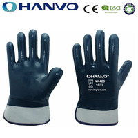HANVO Navy Blue Nitrile Gloves For Oil Industrial Use Working Gloves Heavy Duty Nitrile Gloves