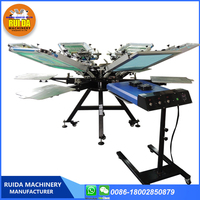 DIY New double-side Clamp 6 color 6 station manual t-shirt screen printing machine with micro adjustment