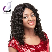 Natural unprocessed remy virgin human hair top quality customized length deep wave lace front wig for asian women