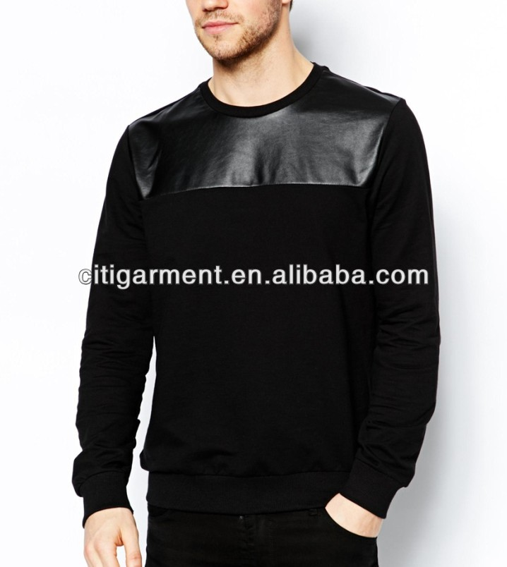 Men's Jumper with Faux Leather Panel