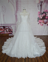 Luxury ball gown long sleeve wedding dress long train