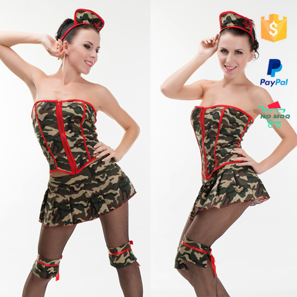 Wholsesale Women Off Shoulder Sexy Camouflage Military Uniform