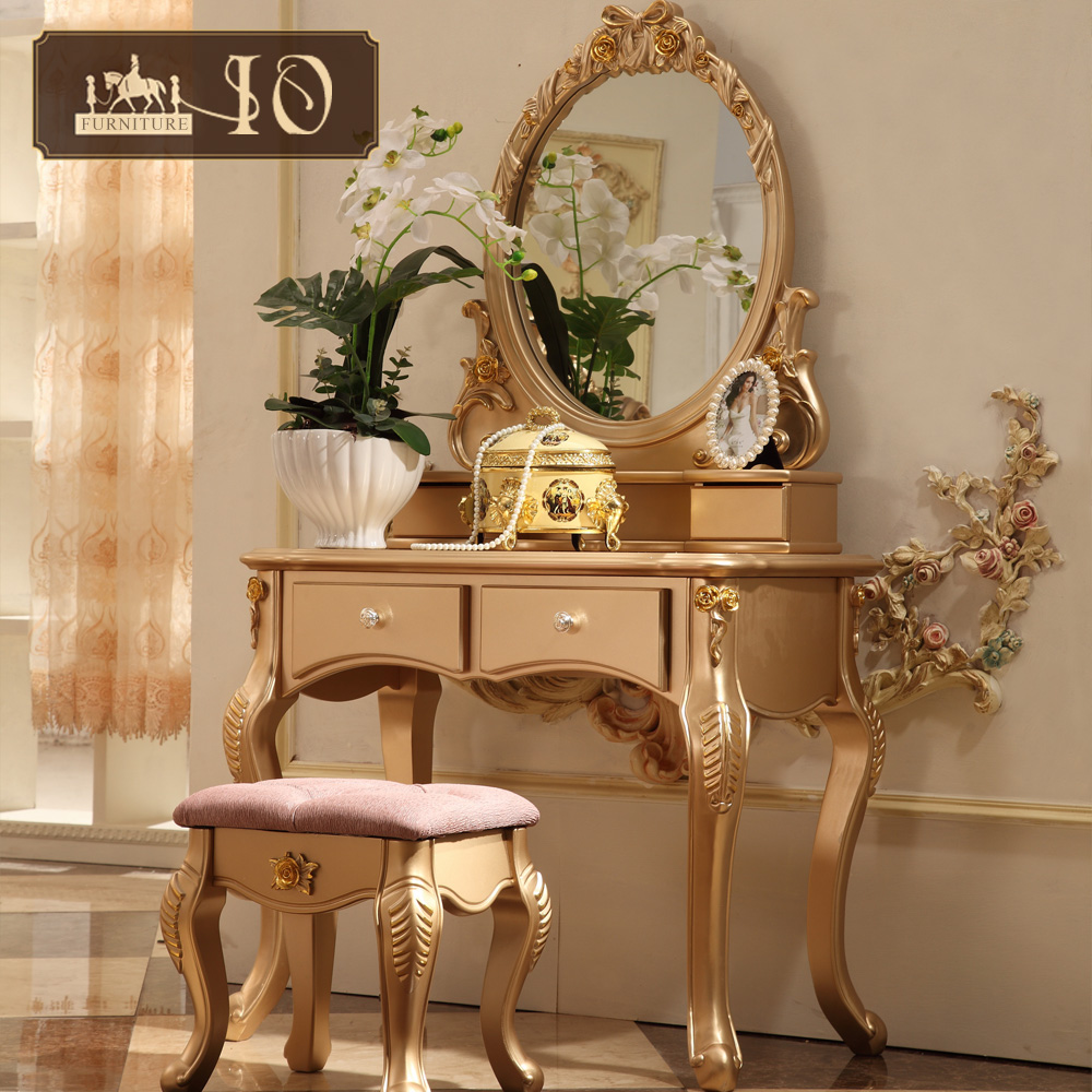 116# Natural dresser set bedroom furniture use wood furniture dressing table and chair