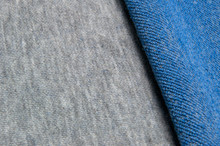 Blue and Grey Melange Cotton Polyester Fabric