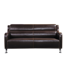 3 2 1 Seat Dark Brown Leather Reception Sofa Sets With Metal Legs
