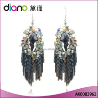 2016 Wholesale newest design fancy jewelry tassel gold plated drop earrings for party girls