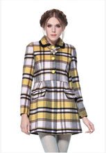 ladies vintage plaid winter long brown wool coat pea coat