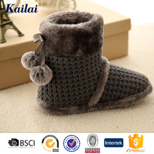 fashionable cashmere cute half rubber boot