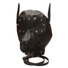 exciting leather fetish for male dog hood ,good quality new coming male bdsm bondage plastic slave bondage dog hood sex toy