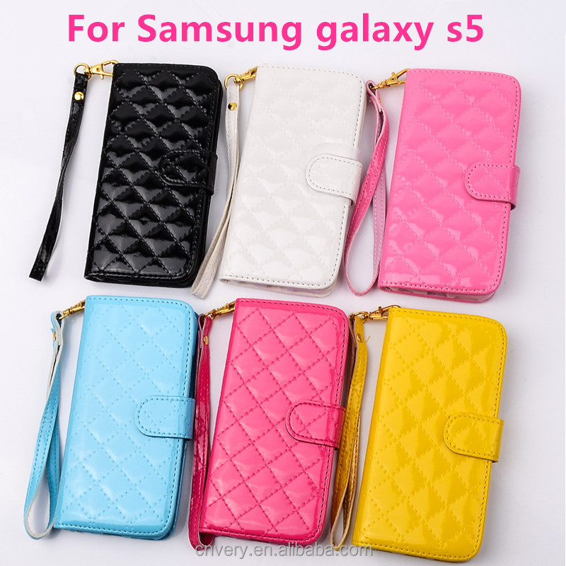 new products mobile phone case for samsung galaxy s5 wallet stand flip frame fashion i9600 cover smart phone grid pu holster