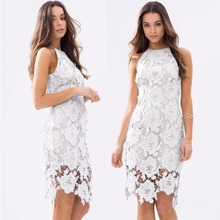 White Lady's Lace Crocheted Sleeveless Women Dresses