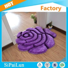 Purple high quality 3D single rose design jute rug