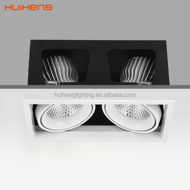 Recessed ceiling 20w*2 downlight warm white cob led grille light