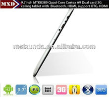 Super slim 9.7 inch android tablet MTK8389 Quad core Dual 3G SIM card slot with GPS, Bluetooth, Wifi, FM, calling function.