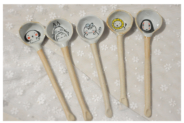 Coarse pottery drawing cartoon ceramic emotion a variety of spoons for tea,cooffee,tableware