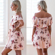 L1153A Women clothing wholesae summer dress women floral print dress floral beach dress