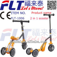 Hot selling 2 in 1 FLT-1006 three wheel kids scooter with strong steel and PU wheel for sale in 2013
