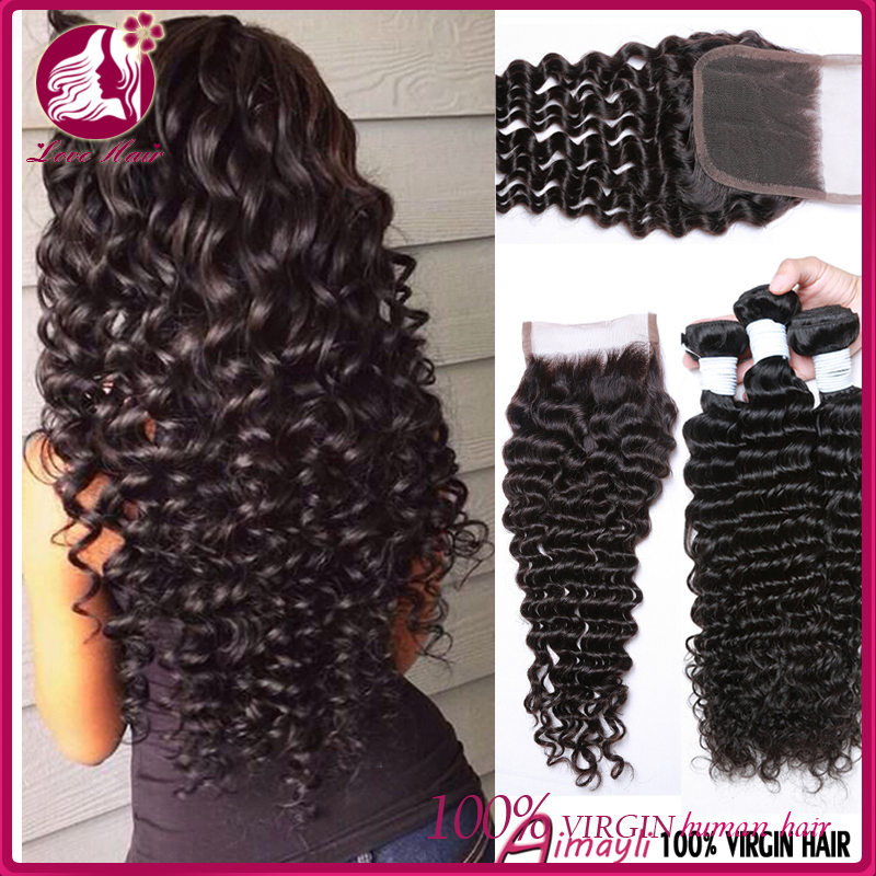 Love Hair Chinese Deep Wave With Closure Unprocessed Chinese Deep Wave Virgin Hair 100Human Hair Bundles With Lace Closures