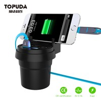 New In-car Cup Holder Power 2-Port Dual USB Car Charger For iPhone Mobile Phone