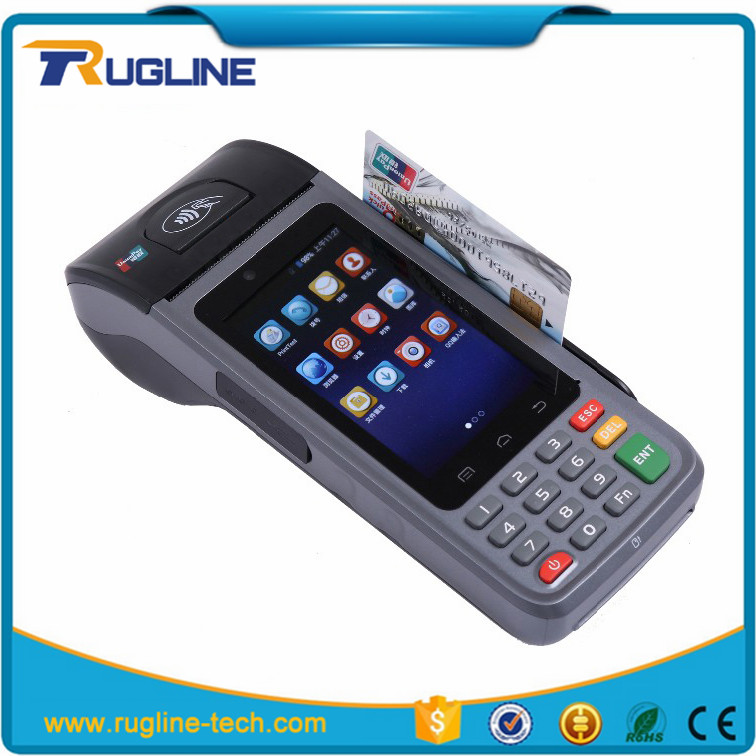 Handheld mobile Android POS terminal pin pad skimmer with printer