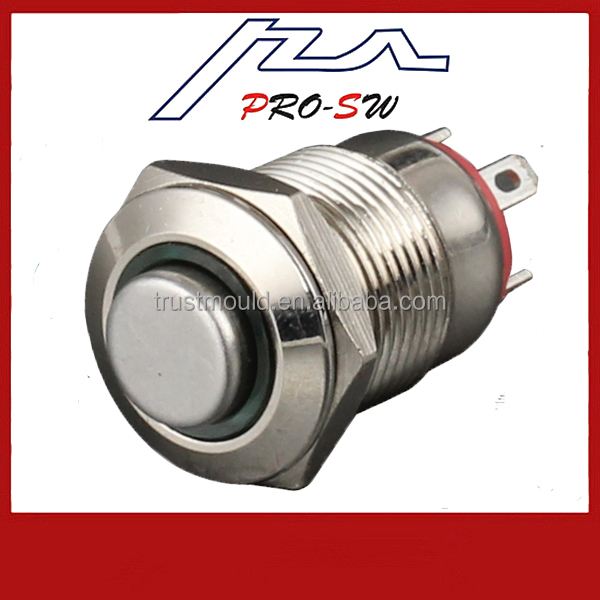 New 16mm RED LED Momentary Horn Metal Switch Push Button Lighted Switch 12V
