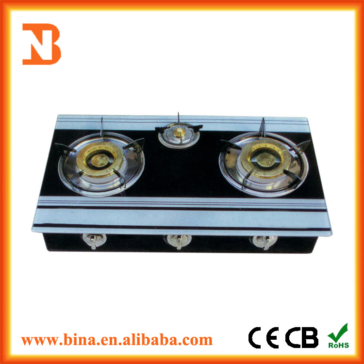 Cheap table top three burner glass top gas stove for sale