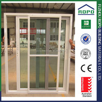 White UPVC frame colored glass sliding door materials
