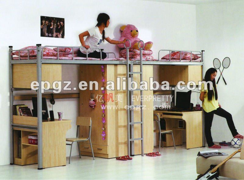 China Bedroom Furniture Double Bunk Bed with Table ans Storage