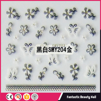 Charming black white and gold Lace flower and butterfly of 3d nail sticker