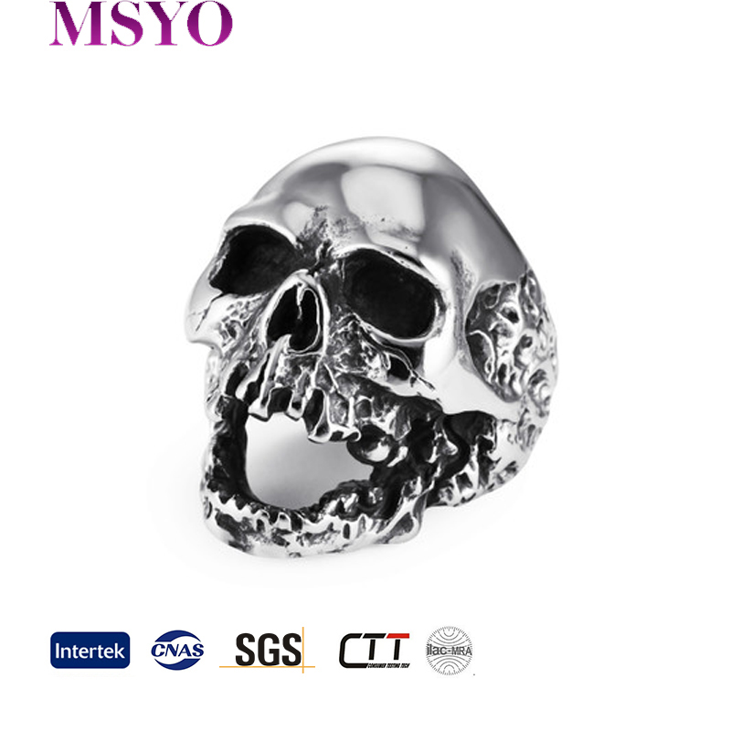 MSYO brand Cheap wholesale European personality skull style stainless steel men ring