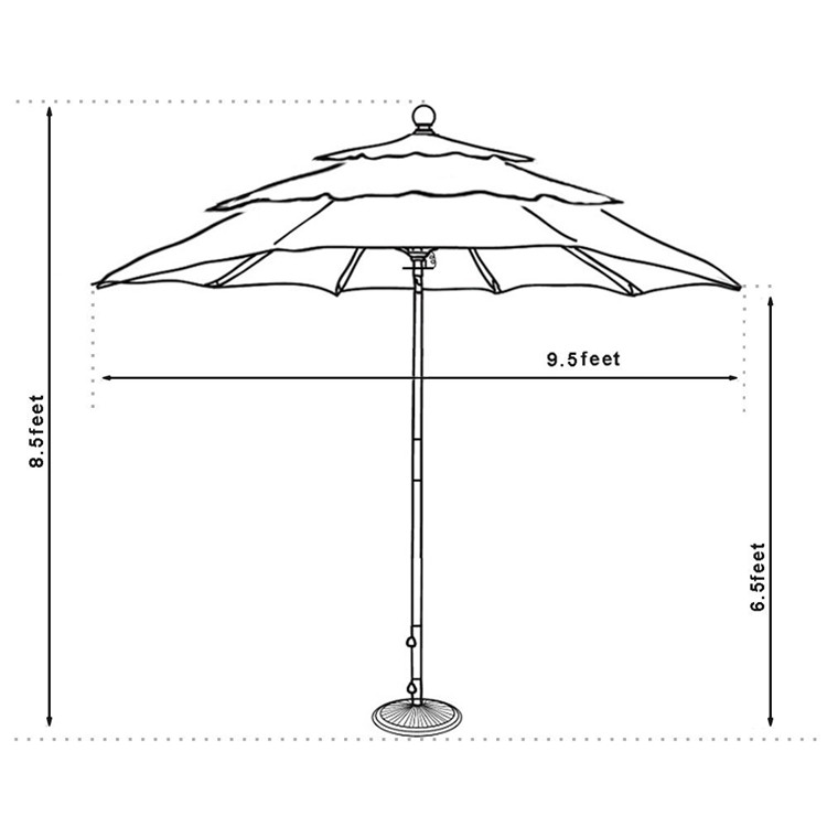 3 layers fabric swimming pool wooden patio parasol