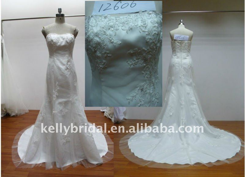 Applique, Lace Beading,Tulle Mermaid Wedding Dress