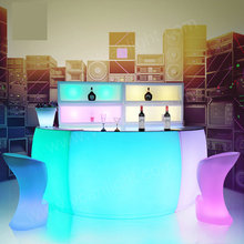 PE plastic glowing 16 colors acrylic lighted bar counter top for wedding