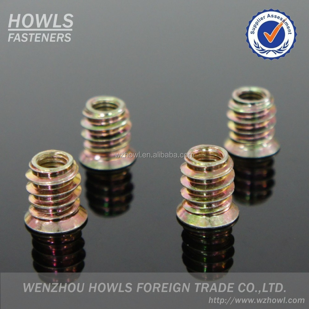 High quality zinc alloy inside and outside teeth wooden furniture insert nut