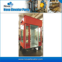 Lift Cabin for Observation Elevator with Glass Wall and Handrail
